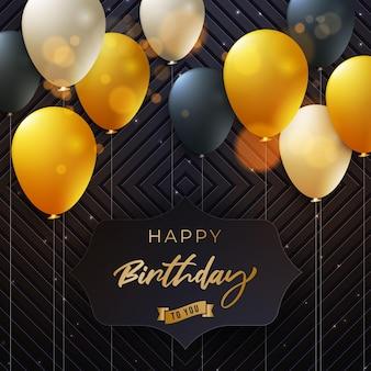 Fond de luxe joyeux anniversaire avec des ballons dorés