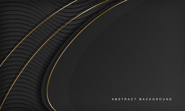 Fond de luxe moderne ligne courbe noire et dorée