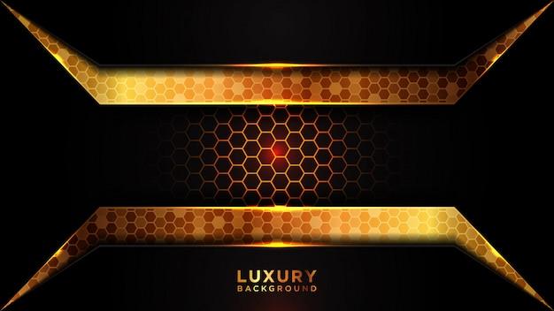 Fond de luxe moderne noir et or se chevauchent. modèle abstrait hexagone gris foncé.