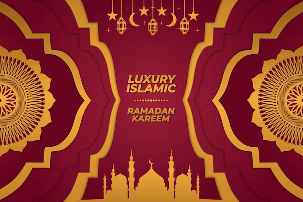 Fond de luxe mosquée islamique ramadan kareem ornement dégradé rouge or