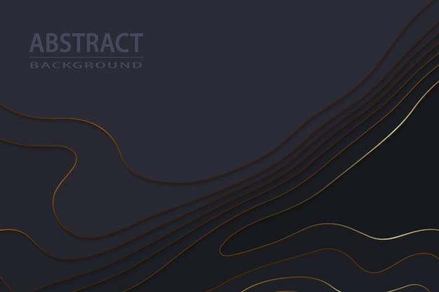 Fond de luxe noir papier découpé géométrique avec des éléments en or