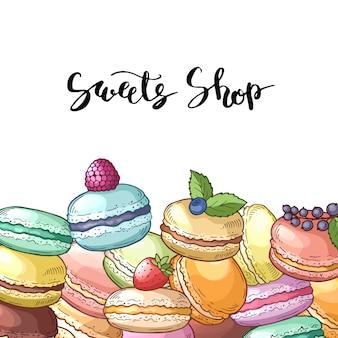 Fond avec macarons colorés dessinés à la main andlettering. illustration du dessert des aliments sucrés, croquis de macaron boulangerie