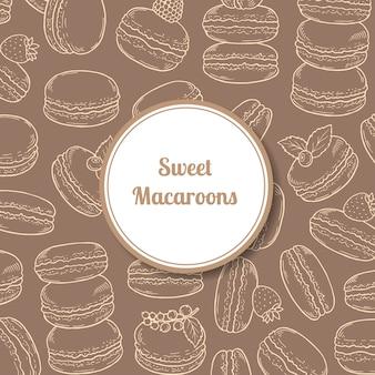 Fond avec des macarons dessinés à la main et cercle avec une ombre avec place pour l'illustration de texte