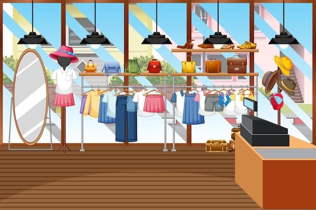 Fond de magasin de vêtements de mode