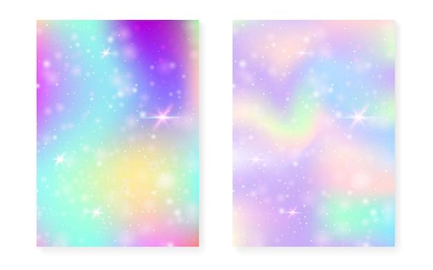 Fond magique avec dégradé arc-en-ciel princesse. hologramme