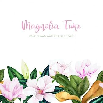 Fond de magnolia aquarelle