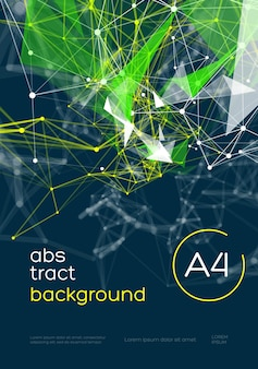 Fond de maille abstraite 3d avec des cercles, des lignes et des formes triangulaires disposition de conception pour votre entreprise