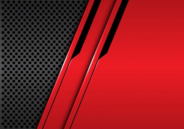 Fond de maille de cercle gris futuriste ligne rouge métallique noire.