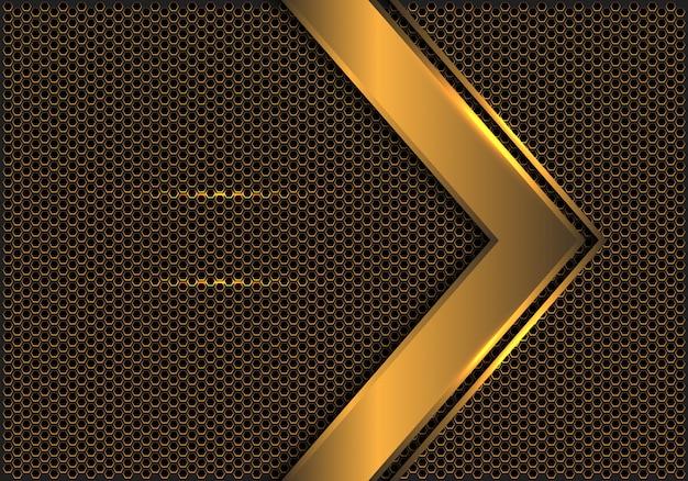 Fond de maille hexagonale direction flèche abstraite d'or.