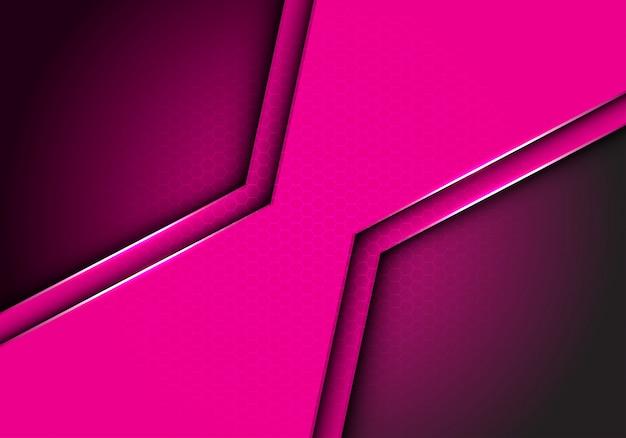 Fond de maille hexagonale métallique polygone rose.
