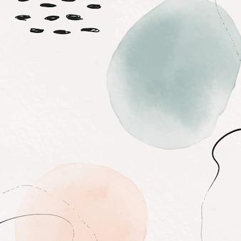 Fond à main levée avec dessin à la main des formes de traits de pinceau aquarelle
