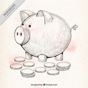 Fond à la main tirée par des pièces de monnaie et tirelire