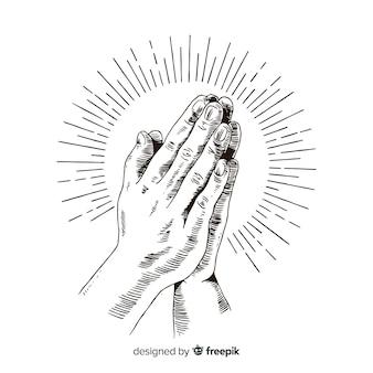 Fond de mains priant dessinés à la main