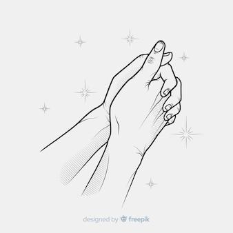 Fond de mains priant scintille