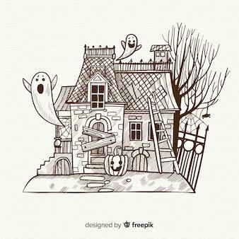 Fond de maison halloween dans un style dessiné à la main