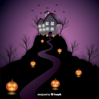 Fond de maison hantée d'halloween avec des lumières dégradées