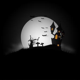 Fond avec sur une maison hantée pour halloween
