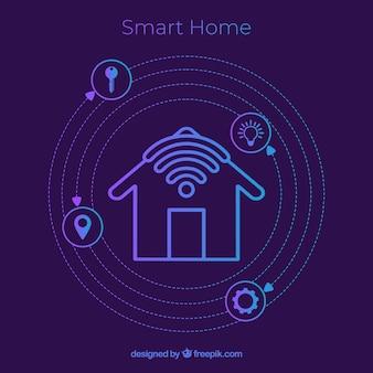 Fond de maison intelligente avec des icônes