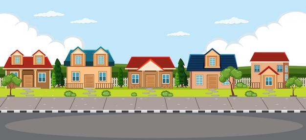 Fond de maison de village simple