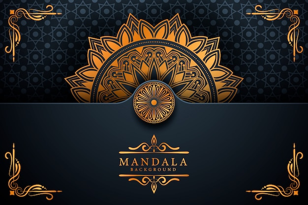 Fond de mandala élégant de luxe de style ramadan