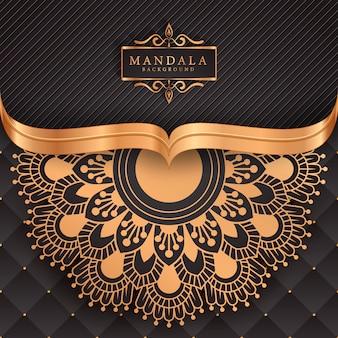 Fond de mandala de luxe avec arabesque dorée
