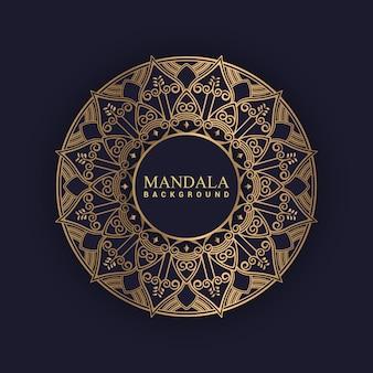 Fond de mandala de luxe avec couleur dorée vecteur premium