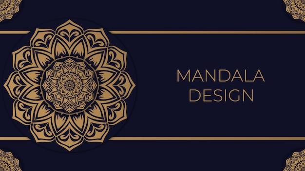 Fond de mandala de luxe avec couleur dorée