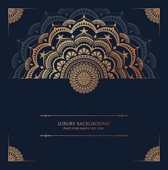 Fond de mandala de luxe avec motif arabesque doré style oriental islamique arabe
