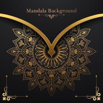 Fond de mandala de luxe avec motif floral doré