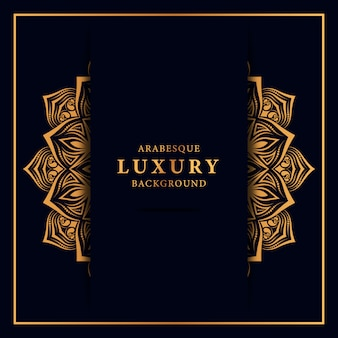 Fond de mandala de luxe avec motif islamique arabesque doré