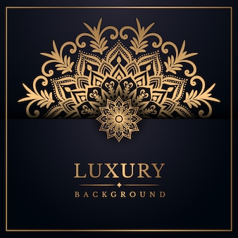 Fond de mandala de luxe avec style arabesque doré