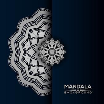 Fond de mandala de luxe avec style argent