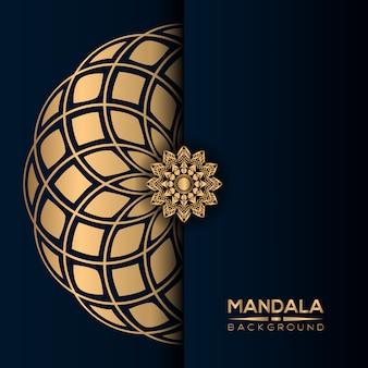 Fond de mandala de luxe avec style doré