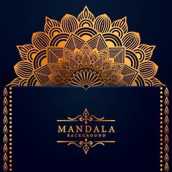 Fond de mandala de luxe avec style oriental motif arabesque dorée