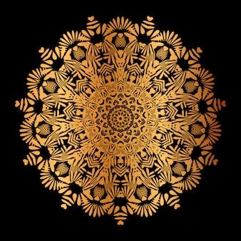 Fond de mandala avec motif arabesque doré