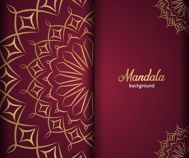Fond de mandala d'ornement de luxe en couleur dorée