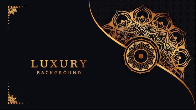 Fond de mandala ornemental de luxe moderne avec arabesque doré arabe style islamique oriental