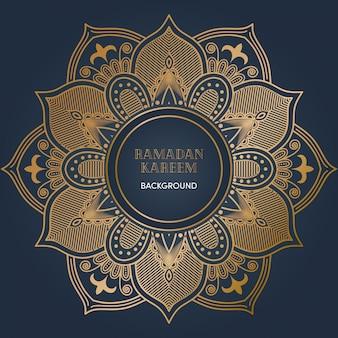 Fond de mandala ramadan avec une couleur de luxe dorée