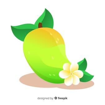 Fond de mangue et feuilles dessinées à la main