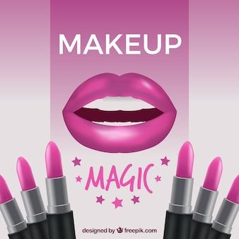 Fond de maquillage avec des lèvres et des rouges à lèvres
