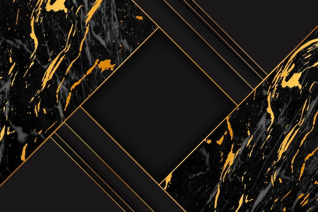 Fond de marbre élégant noir et or
