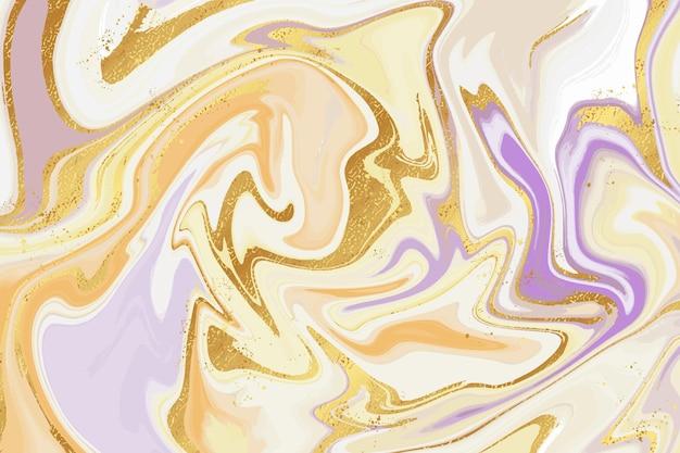 Fond de marbre liquide créatif avec texture brillante dorée