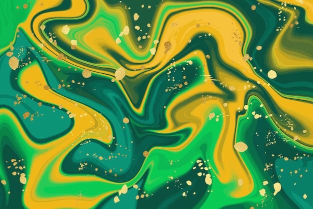 Fond de marbre liquide avec éclaboussures d'or