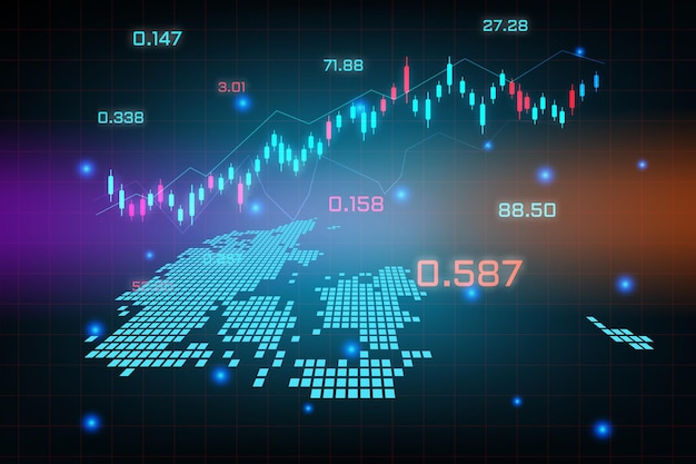 Fond de marché boursier ou graphique d'entreprise de trading forex pour le concept d'investissement financier de la carte du danemark.
