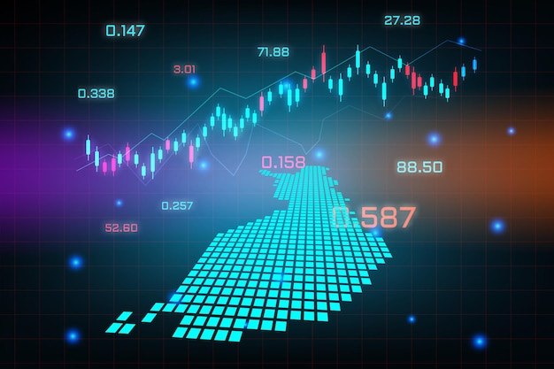 Fond de marché boursier ou graphique d'entreprise de trading forex pour le concept d'investissement financier de la carte de la finlande.