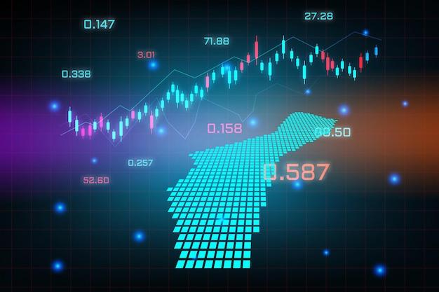 Fond de marché boursier ou graphique d'entreprise de trading forex pour le concept d'investissement financier de la carte de guam.