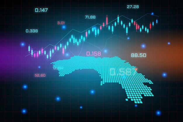 Fond de marché boursier ou graphique d'entreprise de trading forex pour le concept d'investissement financier de la carte de la guinée.