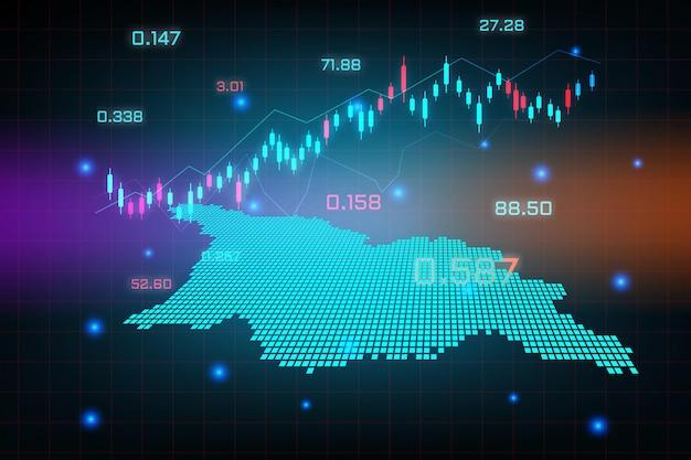Fond de marché boursier ou graphique d'entreprise de trading forex pour le concept d'investissement financier de la carte de l'ossétie du sud de la géorgie.