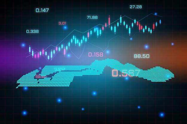 Fond de marché boursier ou graphique graphique d'entreprise de trading forex pour le concept d'investissement financier de la carte de la gambie.