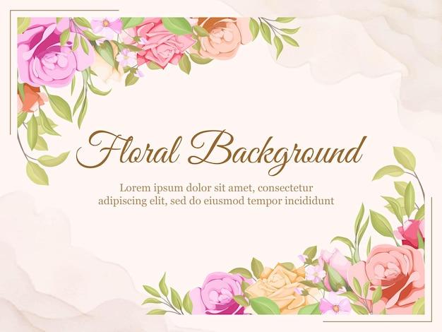 Fond de mariage été floral et feuilles de conception de modèle